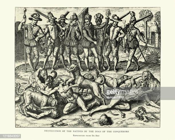 spanish conquistadors massacring  native aztecs with dogs - genocide stock illustrations