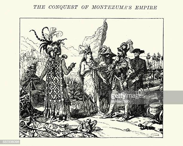 spanish conquistadors meeting the aztecs - aztec stock illustrations