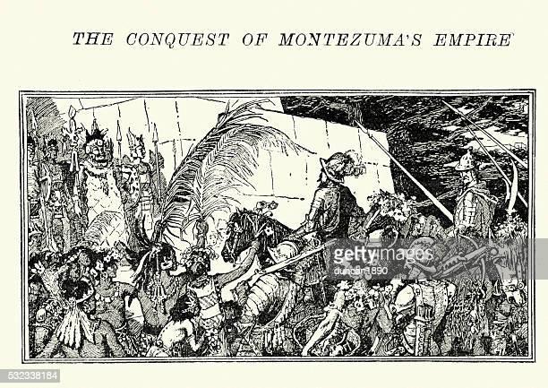 illustrazioni stock, clip art, cartoni animati e icone di tendenza di spagnolo conquistadores riunione la atzechi - cultura spagnola
