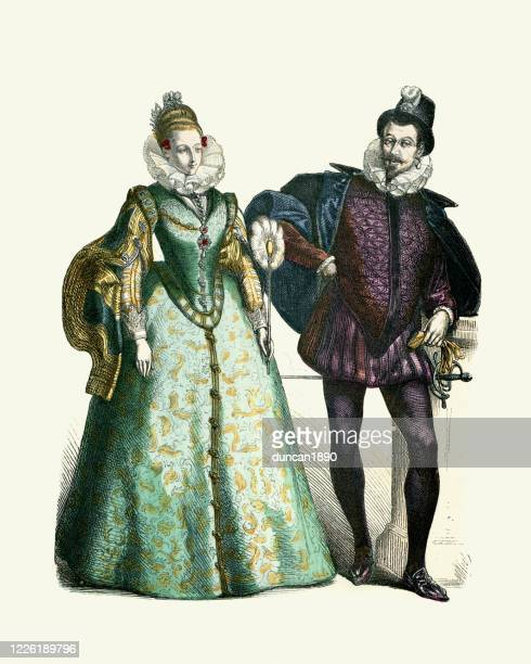 spanish noble fashions of the 16th century - en búsqueda stock illustrations