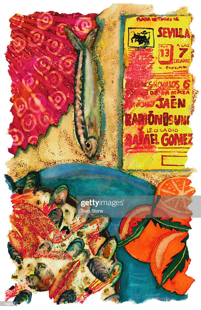 Spanish Paella : Stockillustraties