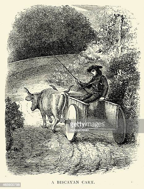 spanish pictures - biscayan cart - en búsqueda stock illustrations