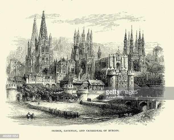 spanische bilder-kathedrale von burgos, kastilien - burgos stock-grafiken, -clipart, -cartoons und -symbole