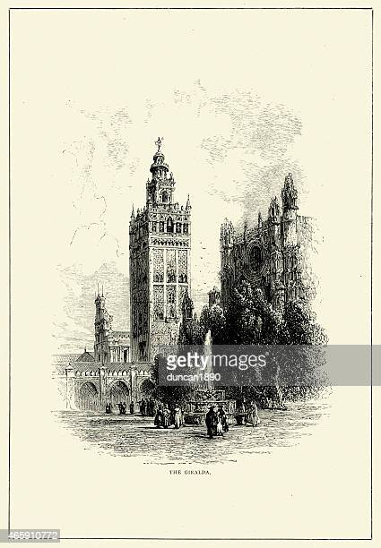 spanish pictures - giralda, seville - seville stock illustrations, clip art, cartoons, & icons