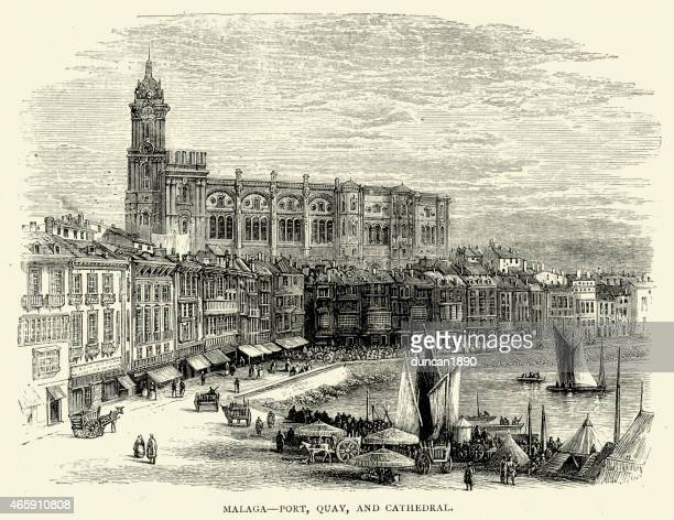 spanish pictures - port quay and cathedral at malaga - málaga province stock illustrations, clip art, cartoons, & icons