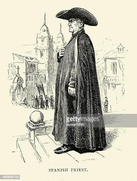 spanish pictures - roman catholic priest - religious dress stock illustrations, clip art, cartoons, & icons