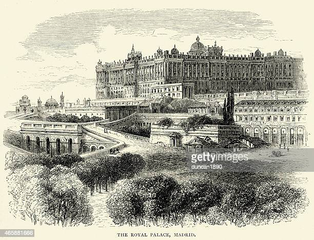 spanish pictures - palacio real de madrid - madrid royal palace stock illustrations
