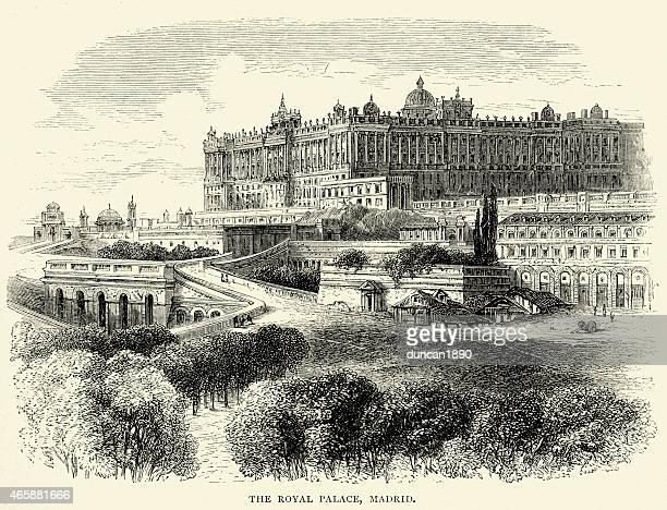 spanish pictures - royal palace of madrid - madrid royal palace stock illustrations
