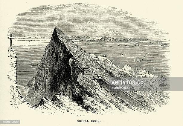 スペインの写真-信号ロック、ジブラルタル - ジブラルタルの岩山点のイラスト素材/クリップアート素材/マンガ素材/アイコン素材