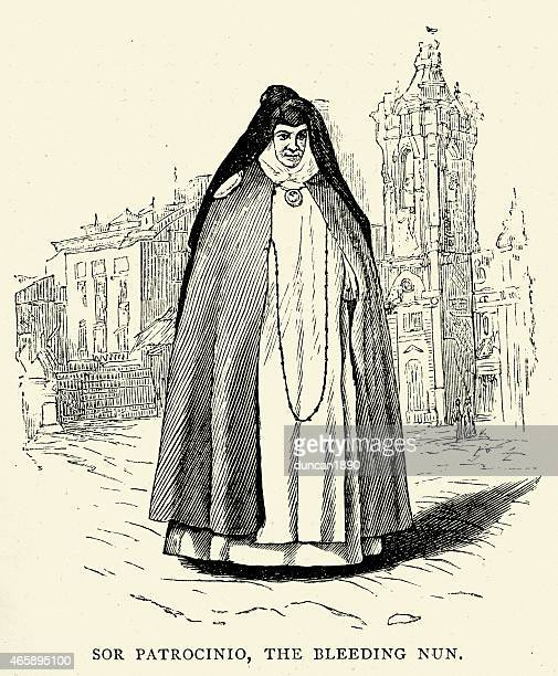 spanish pictures - sor patrocinio - religious dress stock illustrations, clip art, cartoons, & icons
