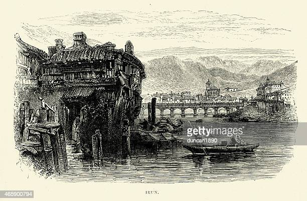 spanish pictures - view of irun - en búsqueda stock illustrations