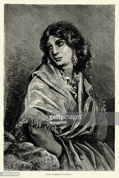 spanish pictures - young woman of valencia - comunidad autonoma de valencia stock illustrations