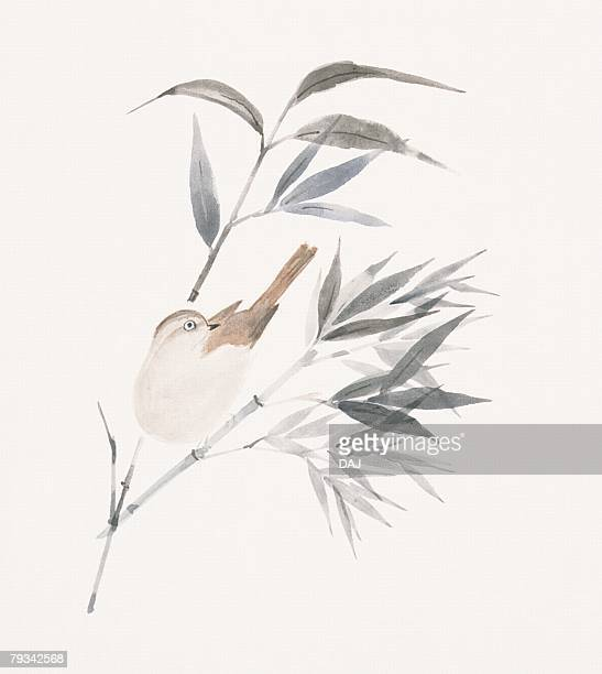 A sparrow and bamboo leaves