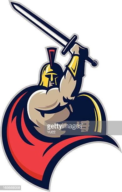 spartan warrior mascot - gladiator stock illustrations, clip art, cartoons, & icons