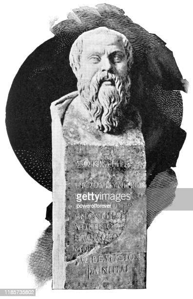 speaking herm of socrates bust statue - 3rd century - philosophy stock illustrations