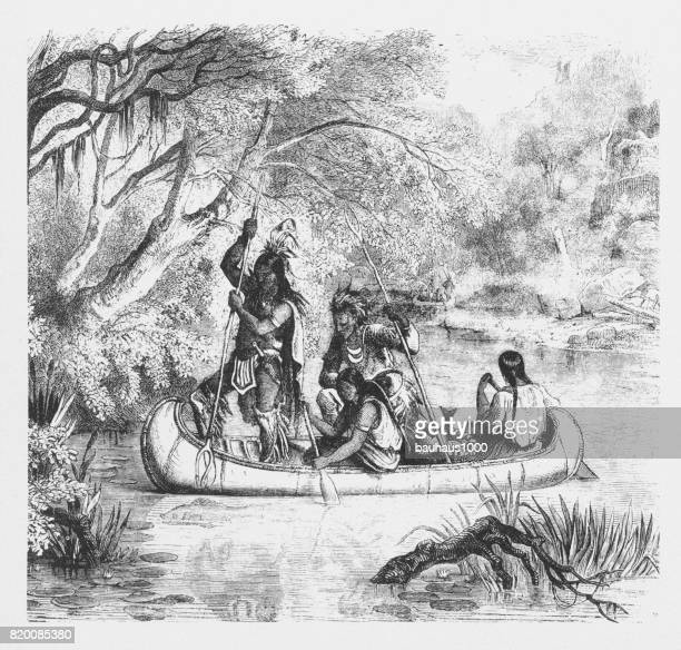 Spear Fishing from a Canoe, American Indians Engraving, 1859