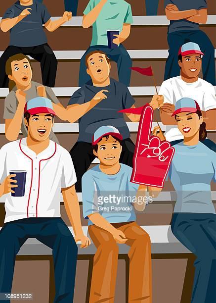 ilustraciones, imágenes clip art, dibujos animados e iconos de stock de spectators sitting in bleachers at game - gradas
