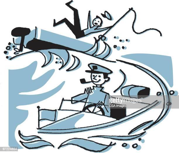 speedboat causing wake - nautical vessel stock illustrations