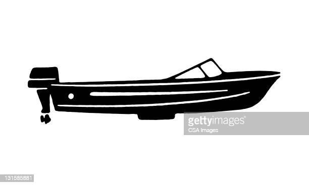 speedboat - nautical vessel stock illustrations