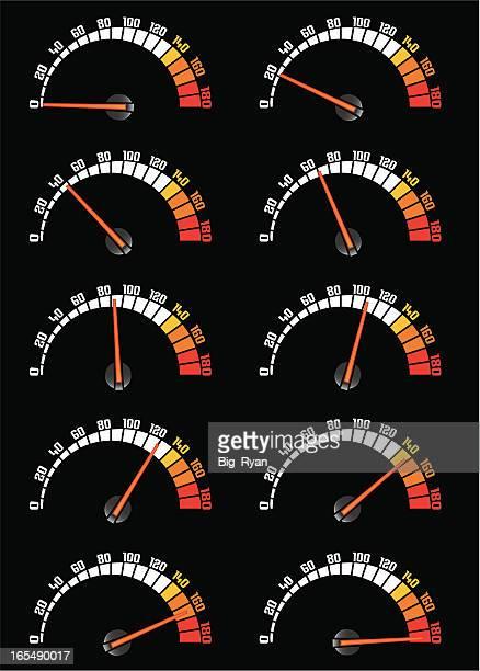 speeder - speedometer stock illustrations