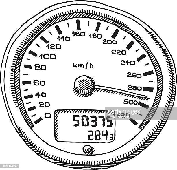 speedometer km/h drawing - letrac stock illustrations