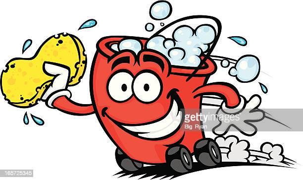 illustrations, cliparts, dessins animés et icônes de lavage de voiture rapide bucket - station de lavage auto