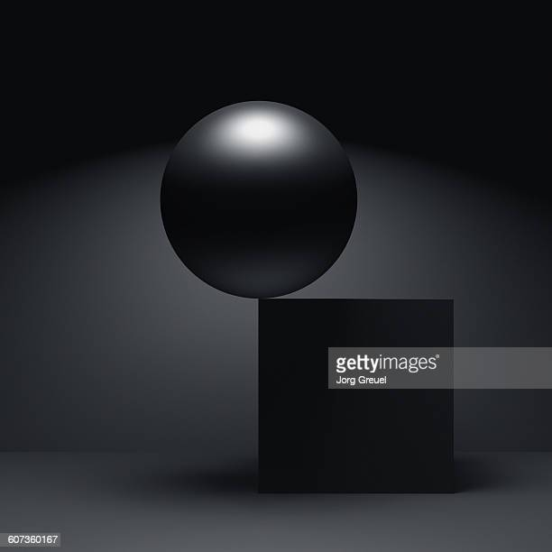 sphere and cube - at the edge of stock illustrations