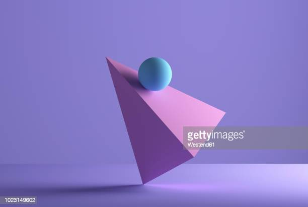 sphere balancing on a pyramid, 3d rendering - digitally generated image stock illustrations