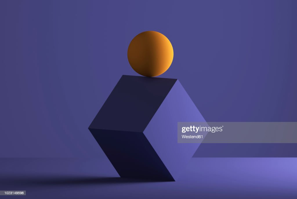 Sphere balancing on the edge of a cube, 3D Rendering : Stock Illustration
