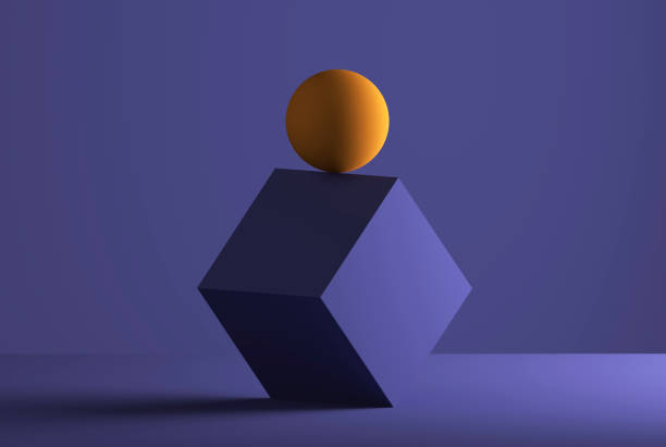 sphere balancing on the edge of a cube, 3d rendering - 平衡 幅插畫檔、美工圖案、卡通及圖標