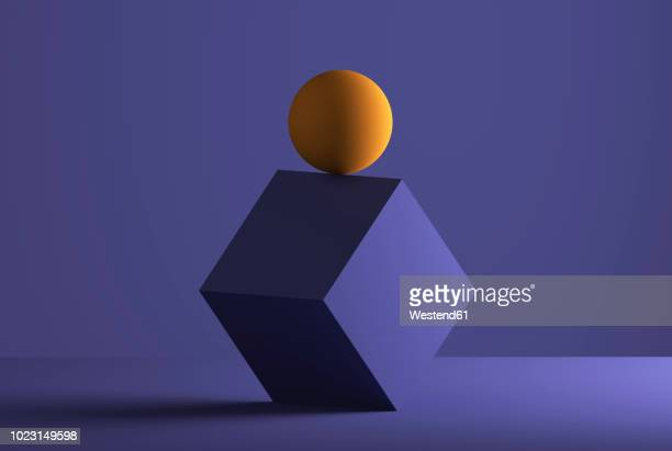 sphere balancing on the edge of a cube, 3d rendering - colored background stock illustrations