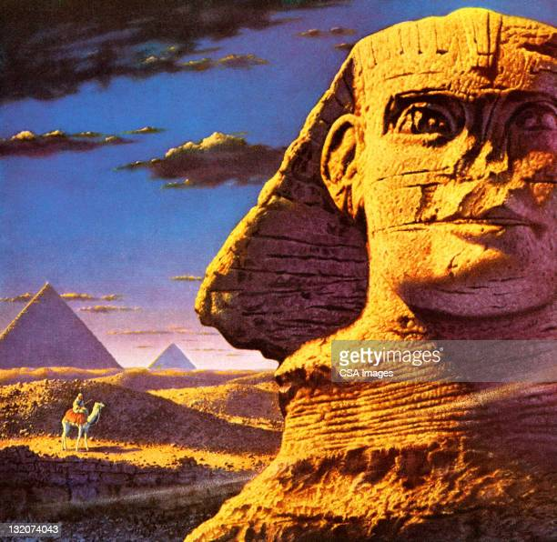 sphinx at giza - the sphinx stock illustrations, clip art, cartoons, & icons