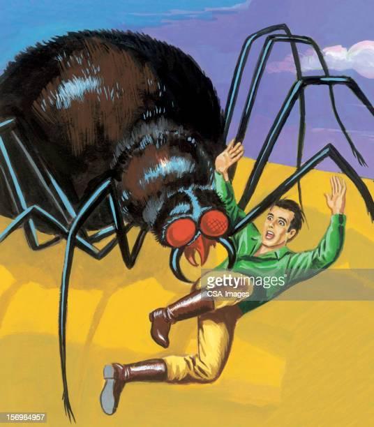 spider attacking man - phobia stock illustrations, clip art, cartoons, & icons