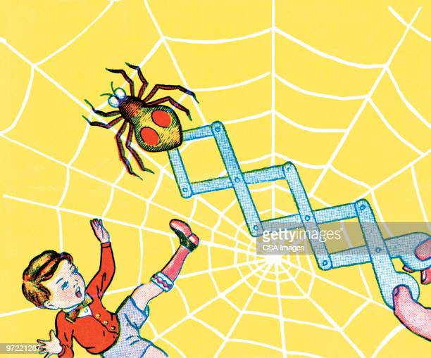 spider on a spring - toddler stock illustrations