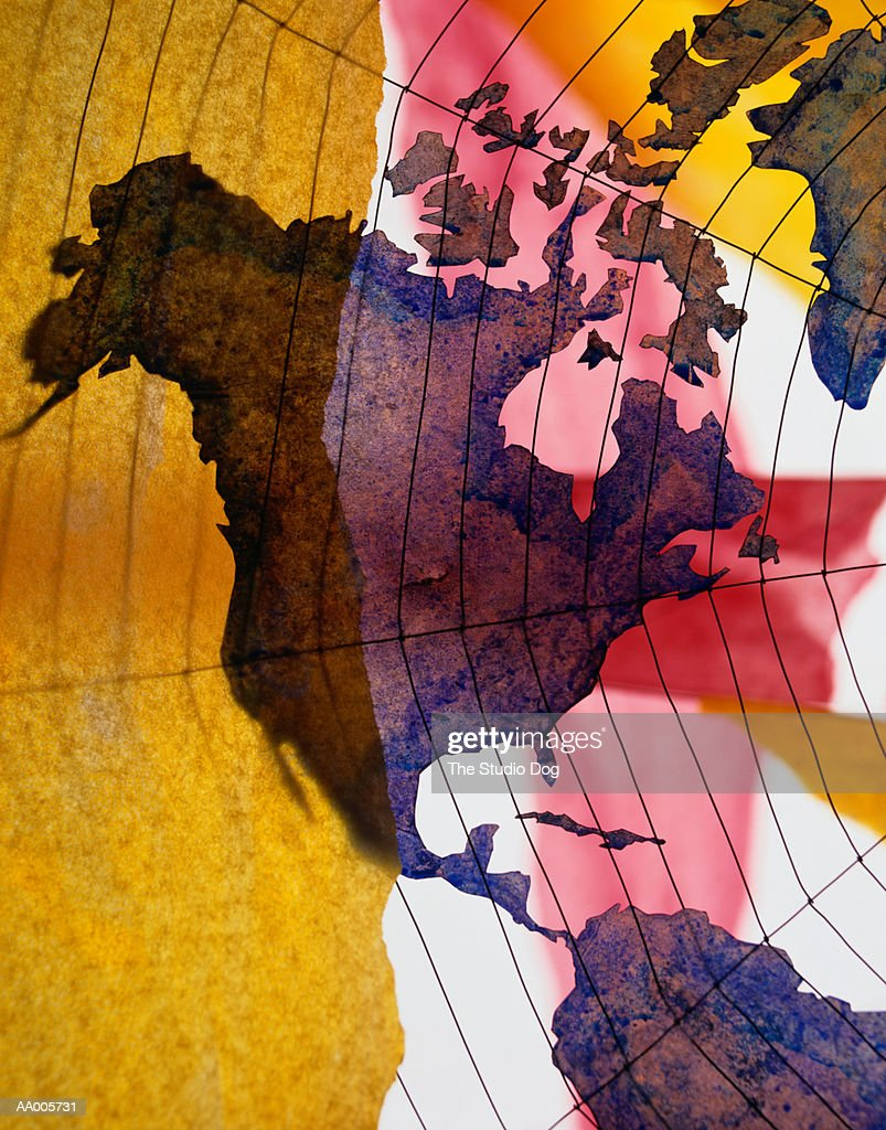 Spider Web Over A Map Of North And Central America Stock ...