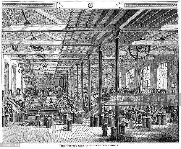 spinning room in shadwell rope factory - textile industry stock illustrations