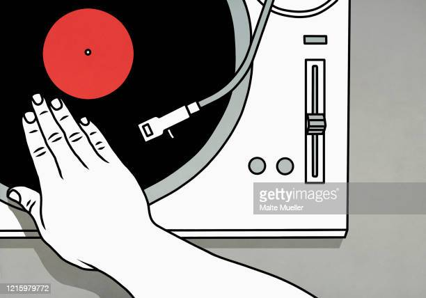 dj spinning vinyl record on turntable - mixing stock illustrations