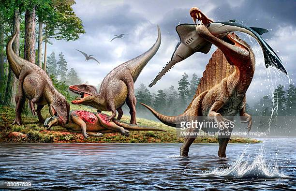 A Spinosaurus hunting an Onchopristis while two Carcharodontosaurus eat the carcass Ouranosaurus in the background..