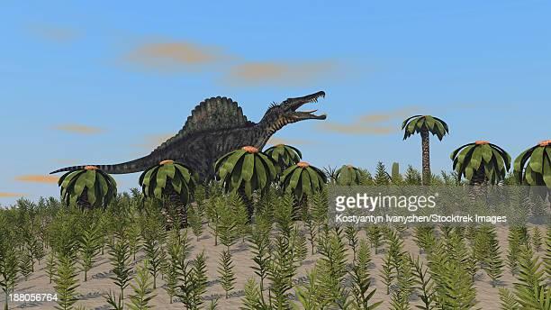 spinosaurus hunting in a desert environment. - animal spine stock illustrations, clip art, cartoons, & icons