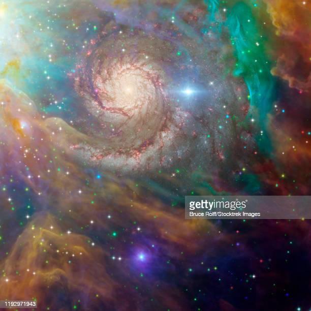 ilustraciones, imágenes clip art, dibujos animados e iconos de stock de spiral galaxy in a colorful deep space scene. - galaxiaespiral
