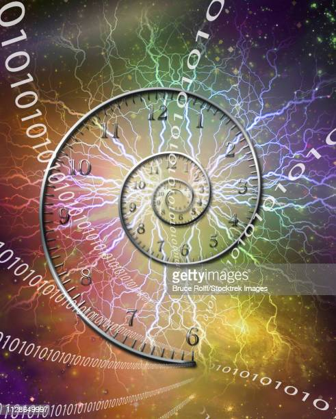Spiral of time. Lightnings and binary code.