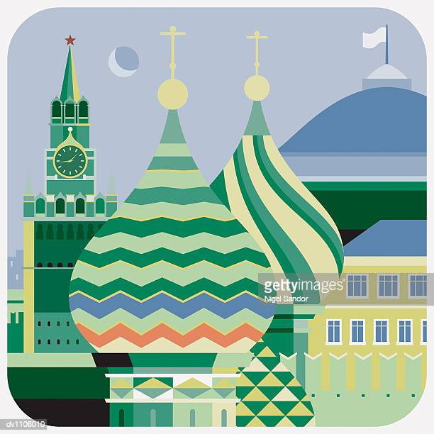spires of st basil's the blessed, moscow, russia - red square stock illustrations, clip art, cartoons, & icons