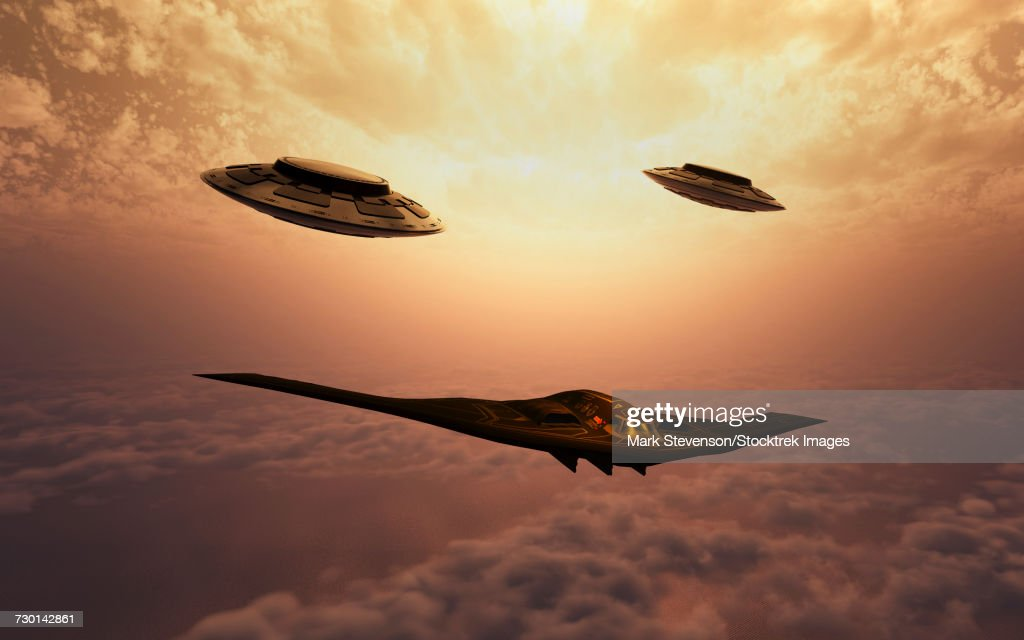 A B-2 Spirit stealth bomber being escorted by a pair of flying saucers. : stock illustration