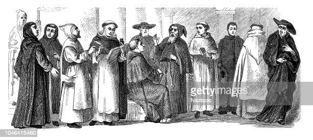 illustrazioni stock, clip art, cartoni animati e icone di tendenza di spiritual religious costumes of monks - penitente people