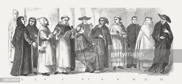 spiritual religious costumes of monks, published in 1881 - penitente people stock illustrations, clip art, cartoons, & icons