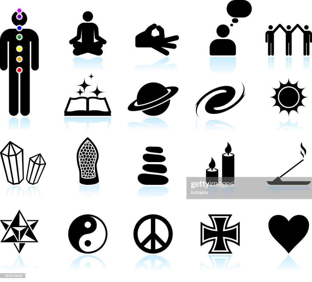 spirituality and new age black & white vector icon set