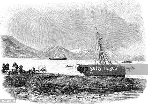 spitsbergen: the harbour - history stock illustrations