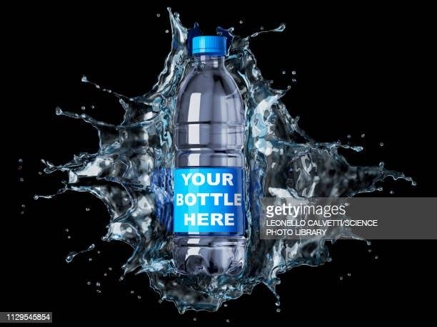 splash of clear water with water bottle, illustration - black background stock illustrations
