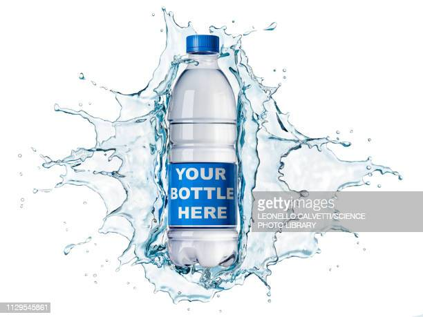 stockillustraties, clipart, cartoons en iconen met splash of clear water with water bottle, illustration - water