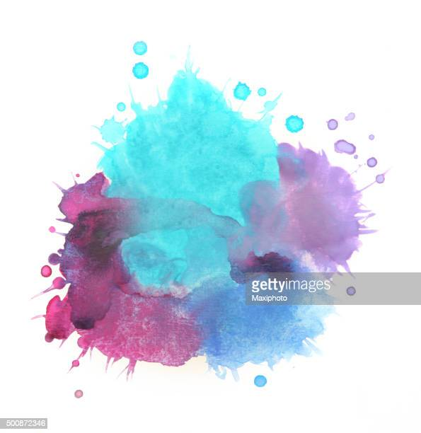 Splashed watercolors, blue and purple paints on white background